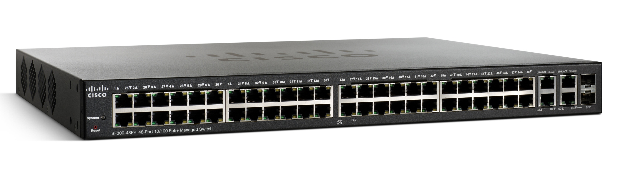 Cisco switch SF300-48PP , 48x10/100+2GE/SFP, WebView, PoE+, SNMP