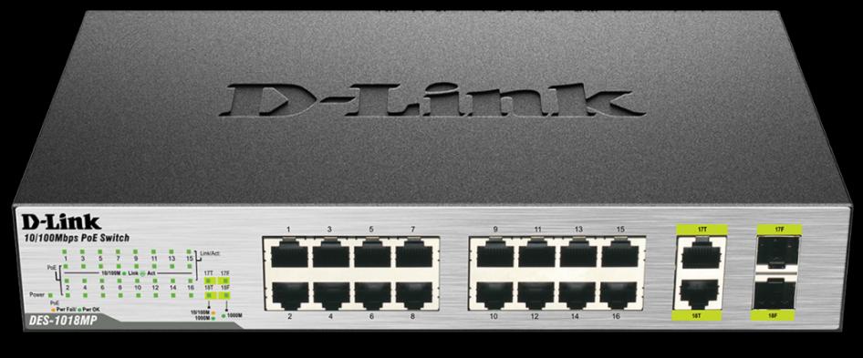 D-Link DES-1018MP 16x100+2xGbE RJ45/SFP PoE switch