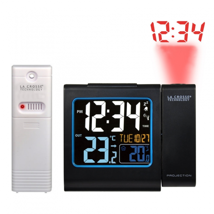 La Crosse Technology WT 552BK - digitální budík s projekcí a měřením vniřní a vnější teploty