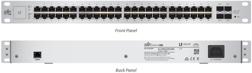 UBNT UniFi Switch US-48-500W [48xGigabit, 500W PoE+ 802.3at/af, pasivní PoE 24V, 2xSFP + 2xSFP+, non-blocking 70Gbps]