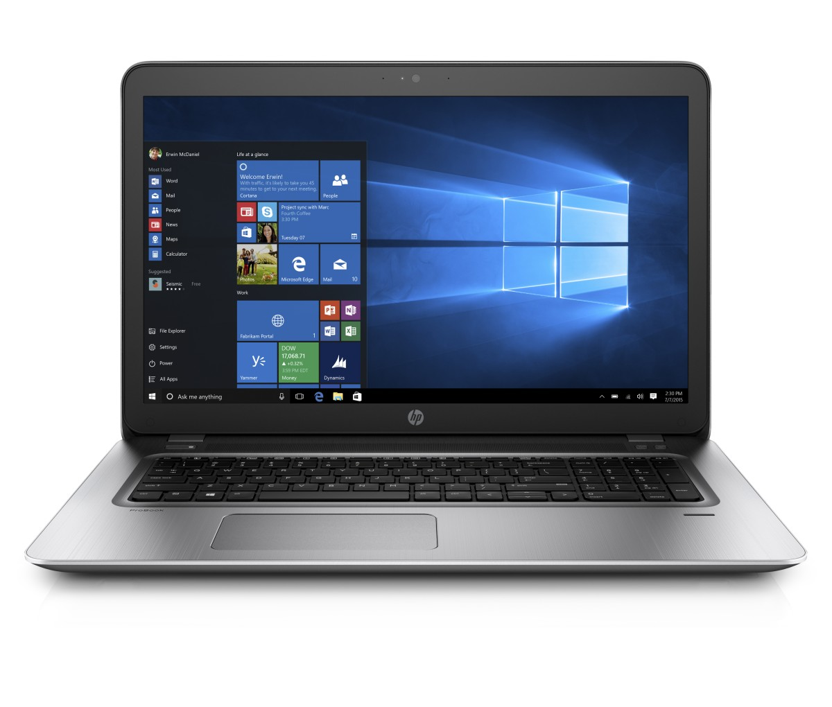 HP ProBook 470 G4 i7-7500U 17.3 FHD 8GB 256SSD+slot GF930MX DVD backlit FP W10P