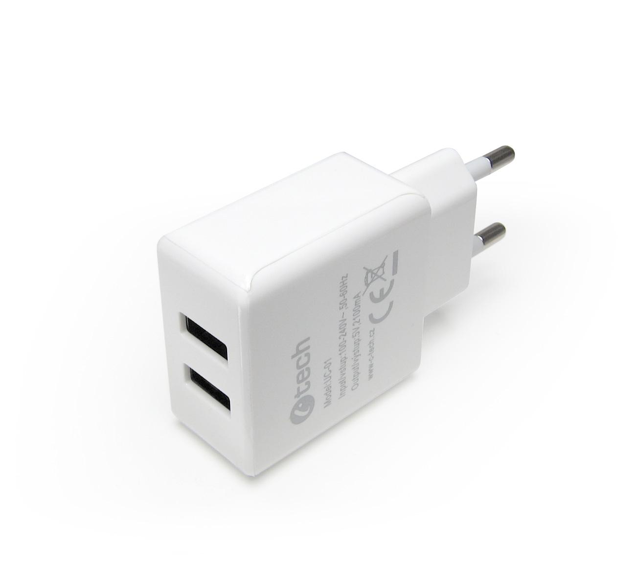 C-TECH Nabíječka USB UC-01, 2x USB, 2,1A, bílá