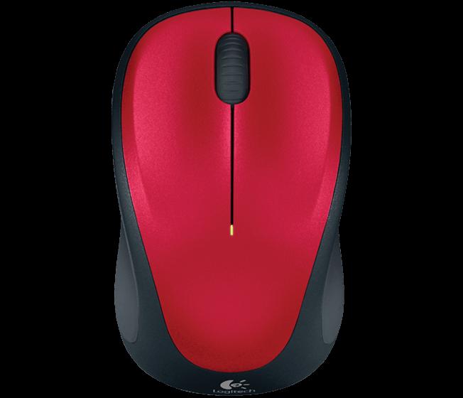 Logitech myš Wireless Mouse M235, optická, podpora unifying, 3 tlačítka, červená