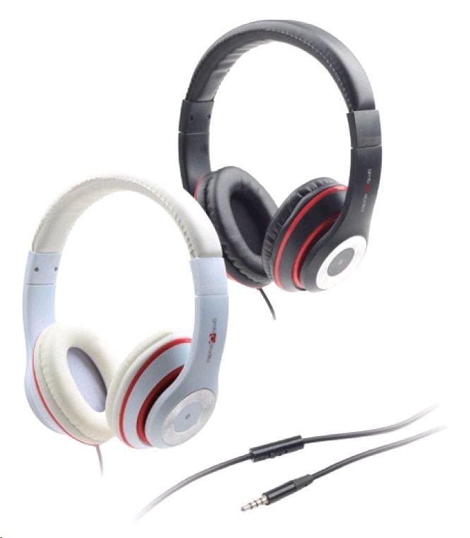 Gembird stereo sluchátka s mikrofonem Los Angeles s ovládáním hlasitosti, bílé