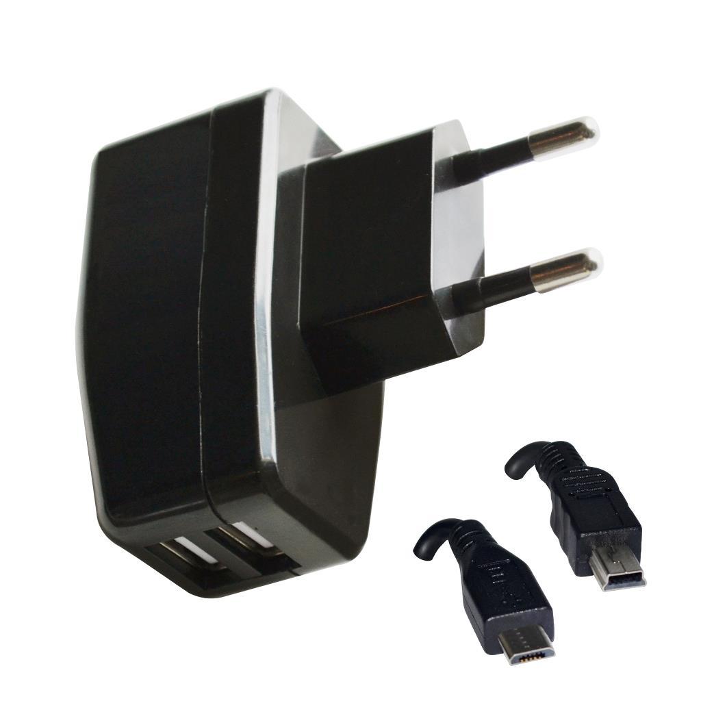 VAKOSS USB nabíječka 2v1 micro/mini USB, 2,1A, AC 100~240V TP-1874UK černá