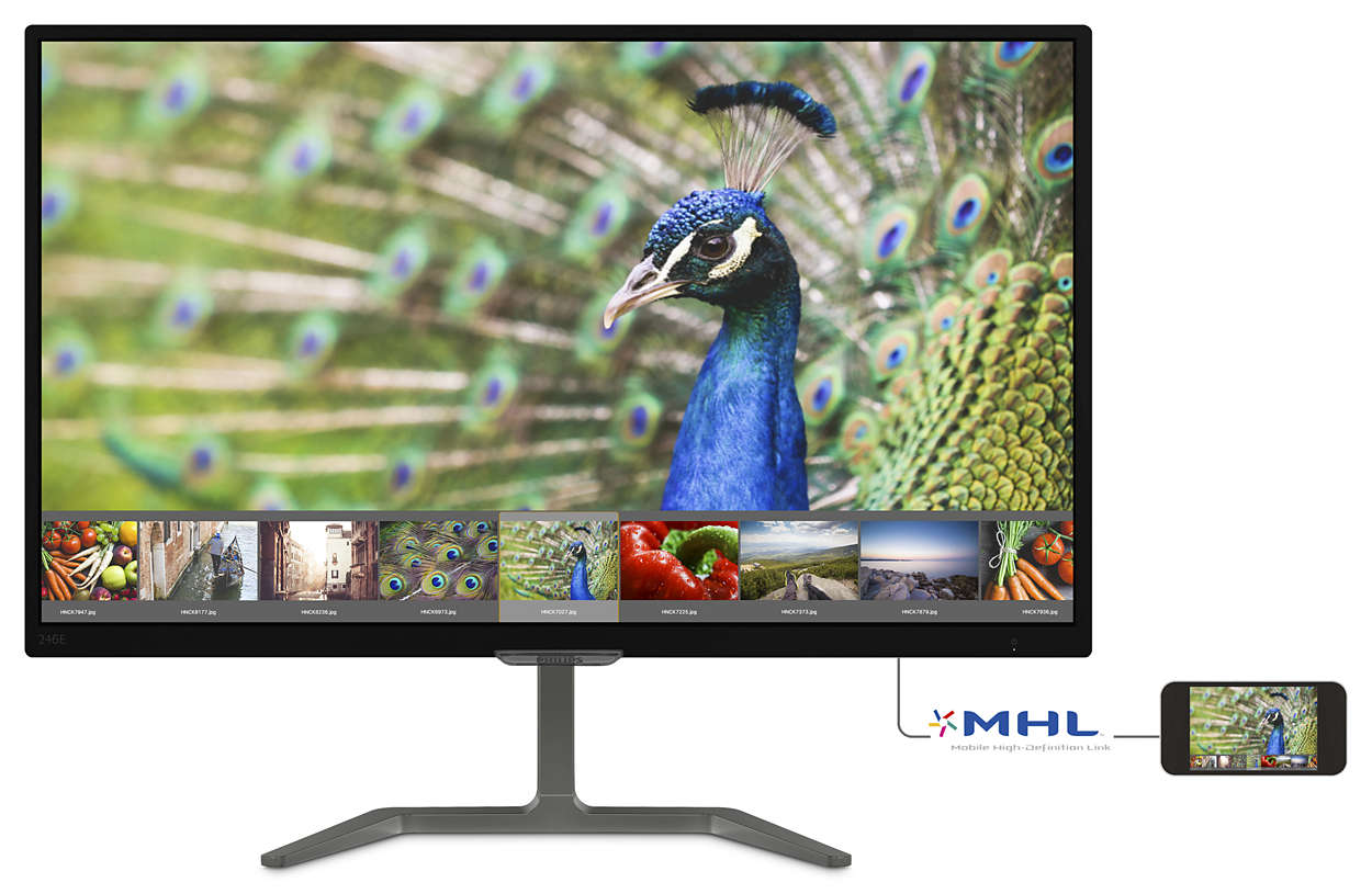 "Philips LCD 246E7QDAB/00 23,6"" wide PLS/1920x1080/20M:1/5ms/250cd/VGA/DVI-D/HDMI (MHL)/repro"
