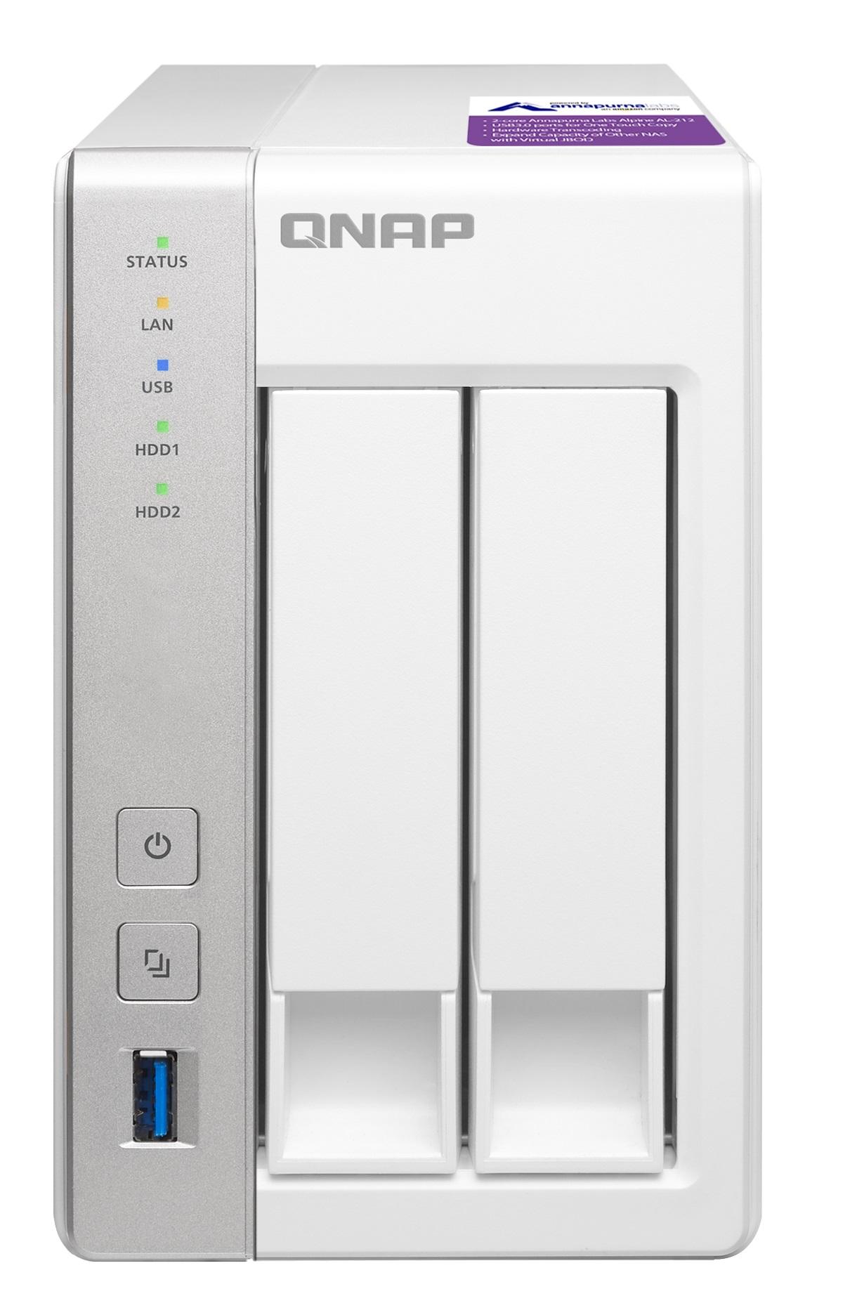 QNAP 2-Bay TurboNAS, SATA 6G, 1,7GHz 2-Core, 1GB RAM, 2x GbE LAN, 3xUSB 3.0