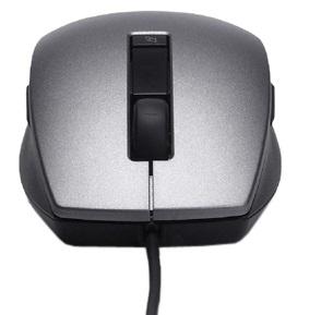 Dell Myš: Stříbrná a černá laserová myš Dell USB s posunovacím kolečkem (6 tlačítek)