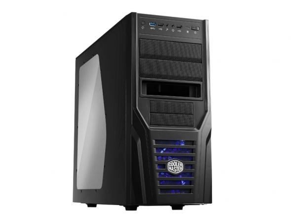 CoolerMaster case miditower Elite 431 Plus,ATX,black edition,USB3.0, XDocking, bez zdroje, průhl. bočnice