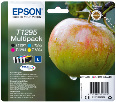 EPSON cartridge T1295 (black/cyan/magenta/yellow) multipack (jablko)