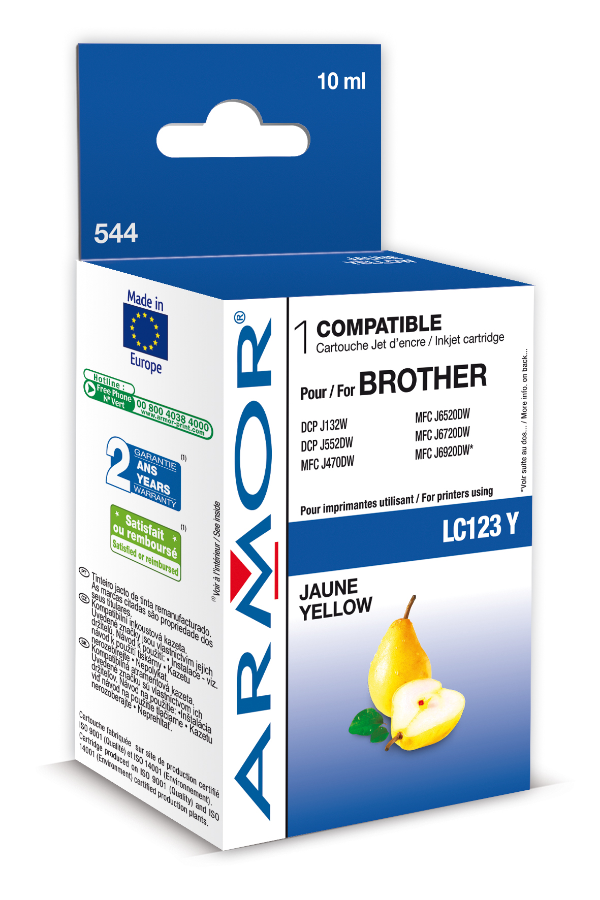 Armor ink-jet Brother MFC-J4510 (LC123Y) 10ml