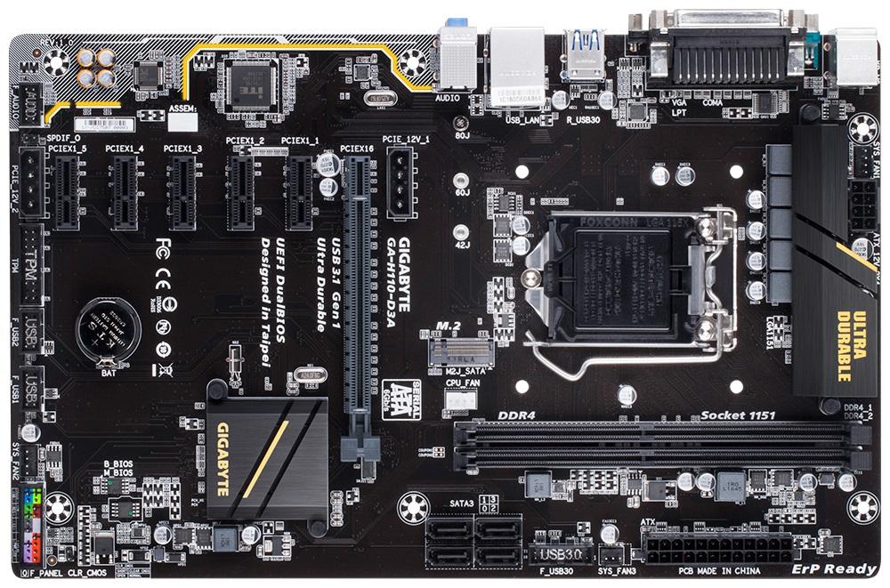 Gigabyte GA-H110-D3A, LGA 1151, H110, DDR4, M.2, USB 3.1