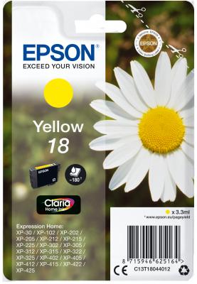Epson Singlepack Yellow 18 Claria Home Ink