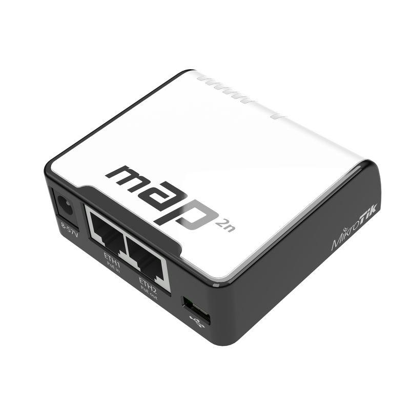 MikroTik RouterBOARD RBmAP2nD, RouterOS L4, 2xLAN, plast. krabice, napájecí adaptér