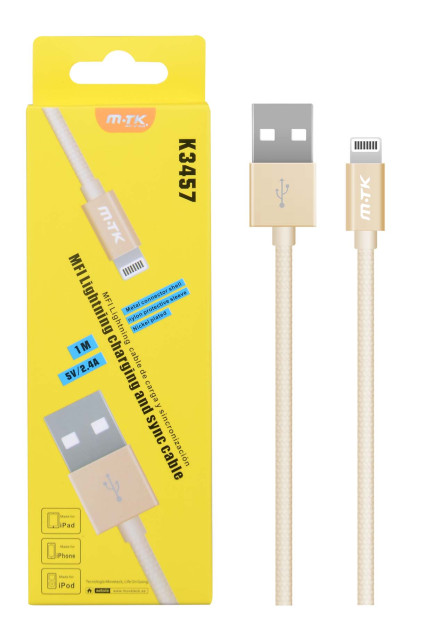 Datový kabel PLUS K3457 lightning, MFI, gold