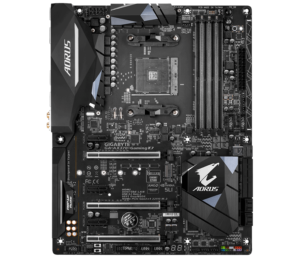 GIGABYTE MB Sc AM4 GA-AX370-Gaming K7, AMD X370, 4xDDR4, HDMI, ATX