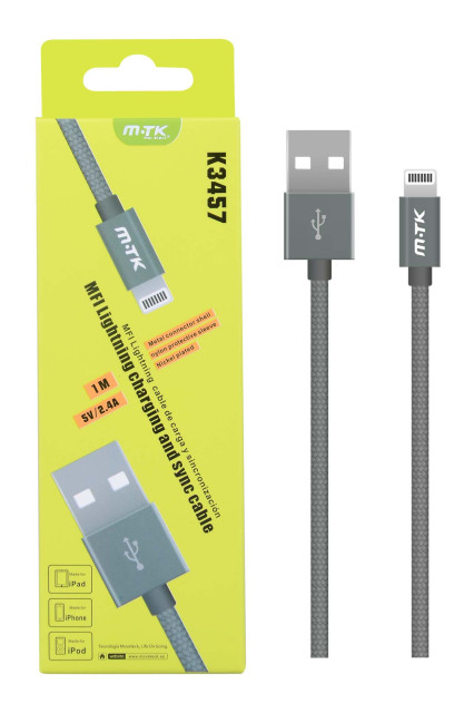 Datový kabel PLUS K3457 lightning, MFI, metal