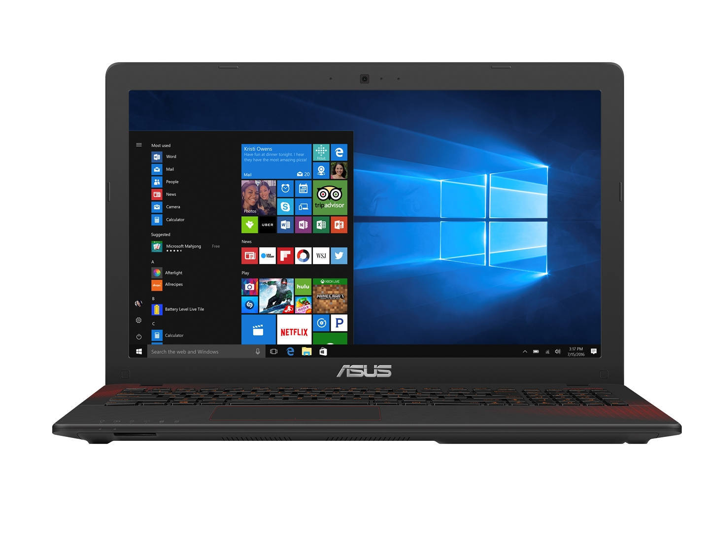 "ASUS F550VX-DM587T i7-7700HQ/8+8GB/256GB SSD M.2 + 1TB 5400 ot./GeForce 950M/15,6"" FHD LED matný/Win10/black"