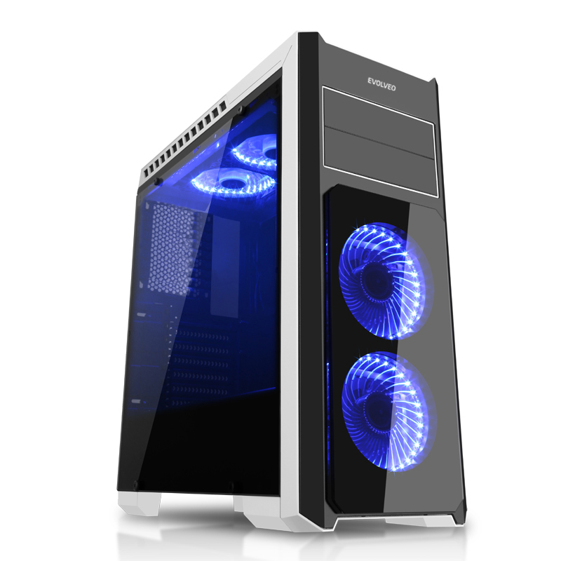 EVOLVEO Ray 4, case full ATX midi tower, 5x 120mm, 2x USB2.0, 1x USB3.0, tvrzené sklo černo modrý design