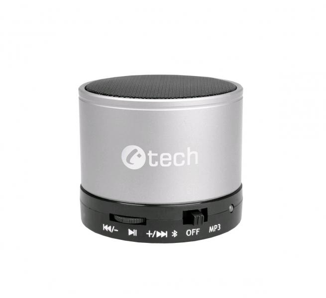 C-TECH reproduktor SPK-04S, bluetooth, handsfree, čtečka micro SD karet/přehrávač, FM rádio, stříbrný