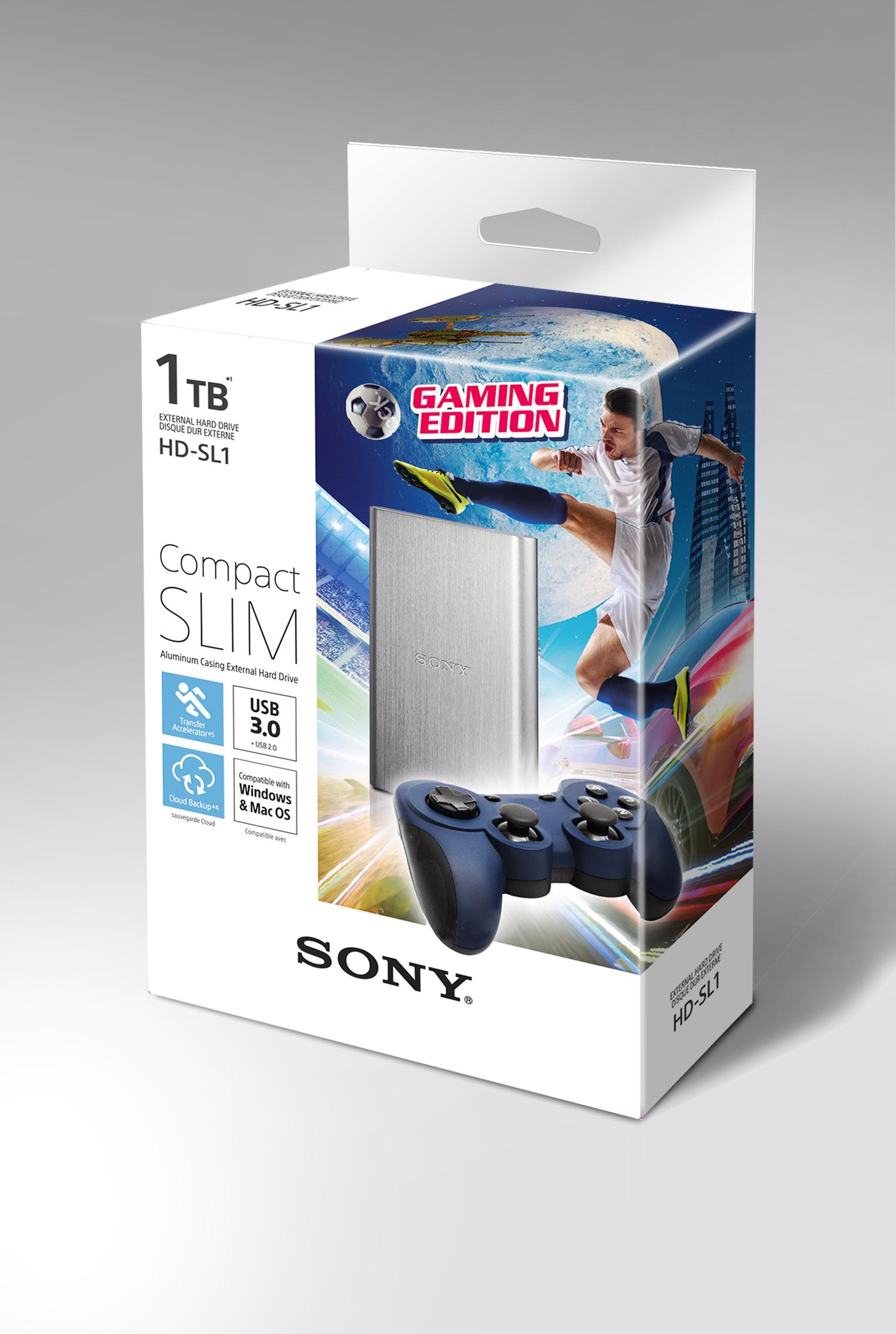 """SONY HD-SL1 HDD 2.5"""", 1000GB, USB 3.0, hliníkový stříbrný - gaming edition"""