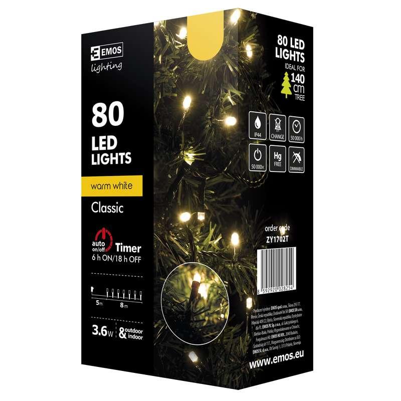 Emos LED dekorační řetěz 80 LED TIMER 8m IP44 WW, teplá bílá