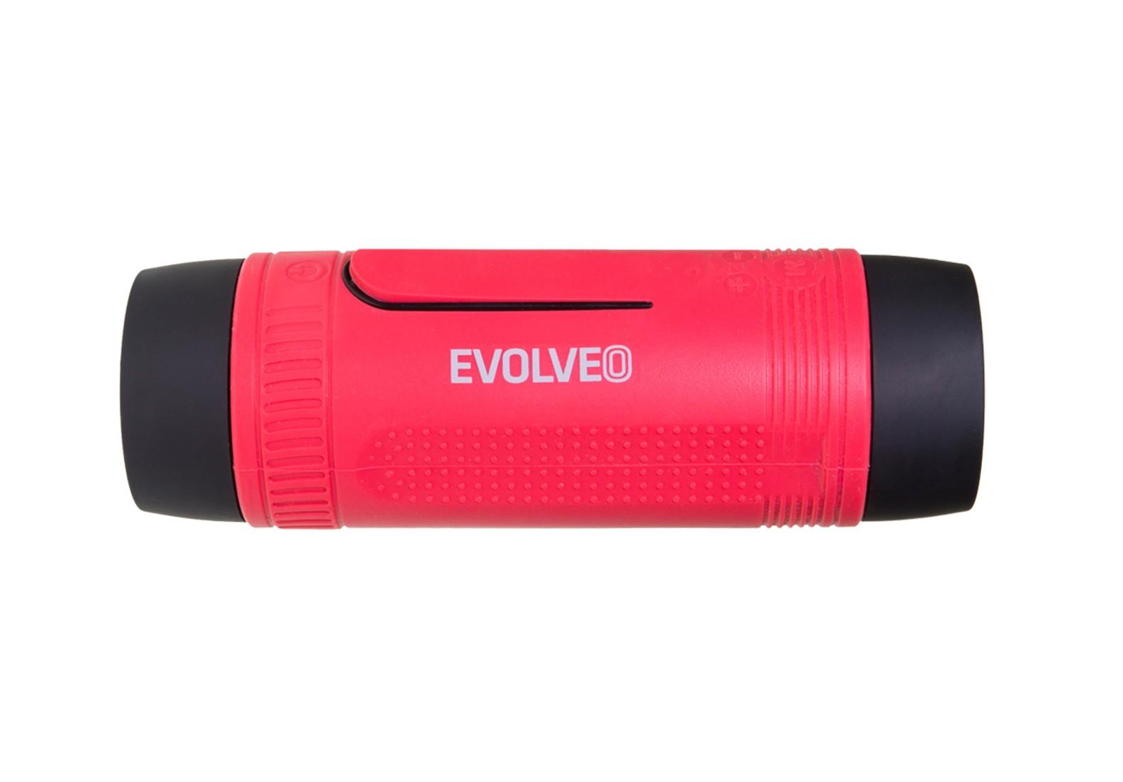 EVOLVEO Armor XL3, outdoorový Bluetooth reproduktor a MP3 přehrávač, BT4.0, LED svítilna, červený
