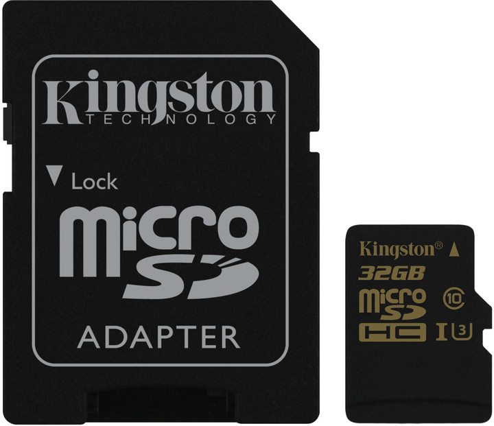 Kingston MicroSDHC karta 32GB Class U3 UHS-I (čtení/zápis;90/45MB/s) + adaptér