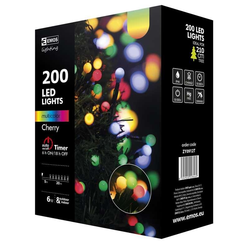 Emos LED dekorační řetěz 200 LED BALL TIMER 20m IP44 MC, multicolor