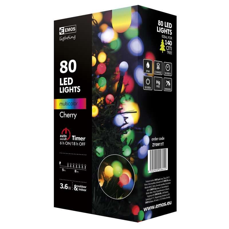 Emos LED dekorační řetěz 80 LED BALL TIMER 8m IP44 MC, multicolor