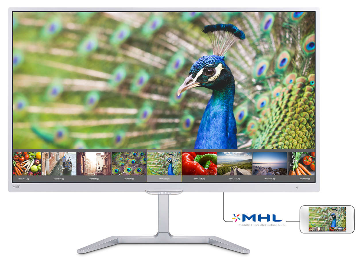 "Philips LCD 246E7QDSW/00 23,6"" wide PLS/1920x1080/20M:1/5ms/250cd/VGA/DVI-D/HDMI (MHL)/epa 6.0/tco 6.0/ TUV GS"