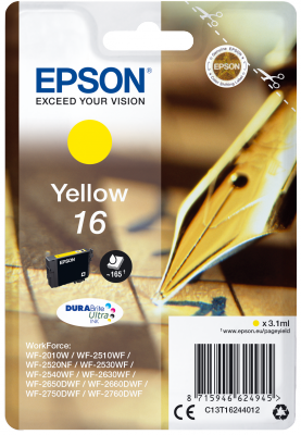 Epson Singlepack Yellow 16 DURABrite Ultra Ink