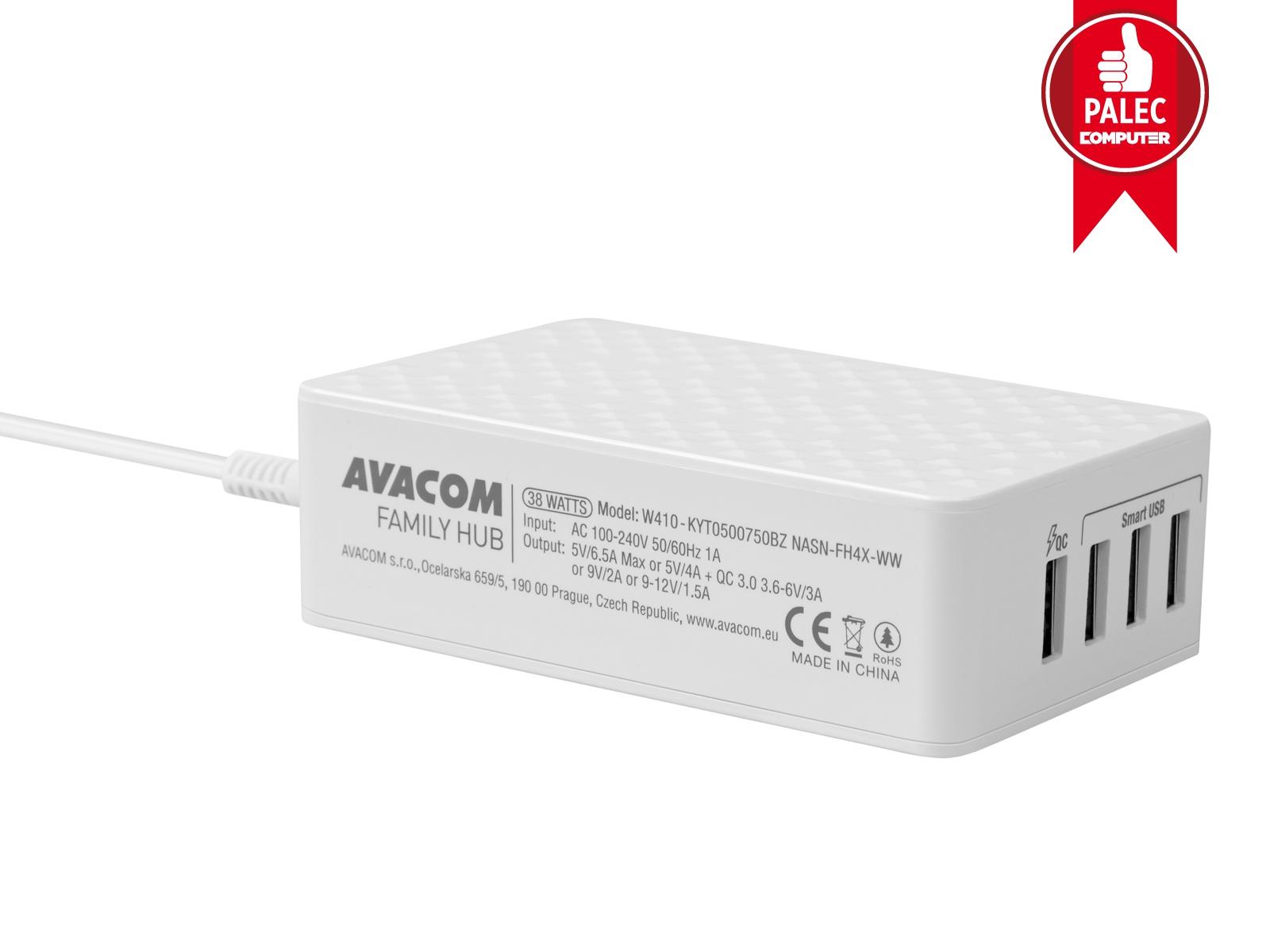 AVACOM FamilyHUB 4 portová síťová nabíječka s rychlonabíjením, quick charge, bílá