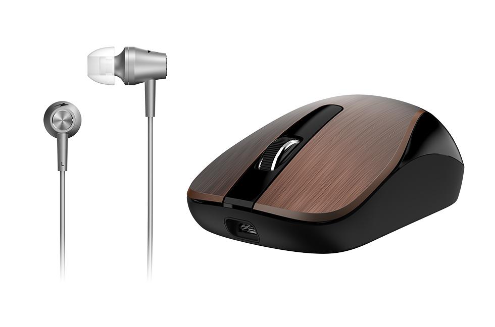 GENIUS MH-8015 bezdrátová dobíjecí myš + HEADSET ZDARMA/ kávová