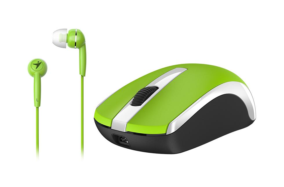GENIUS MH-8100 bezdrátová dobíjecí myš + HEADSET ZDARMA/ zelená