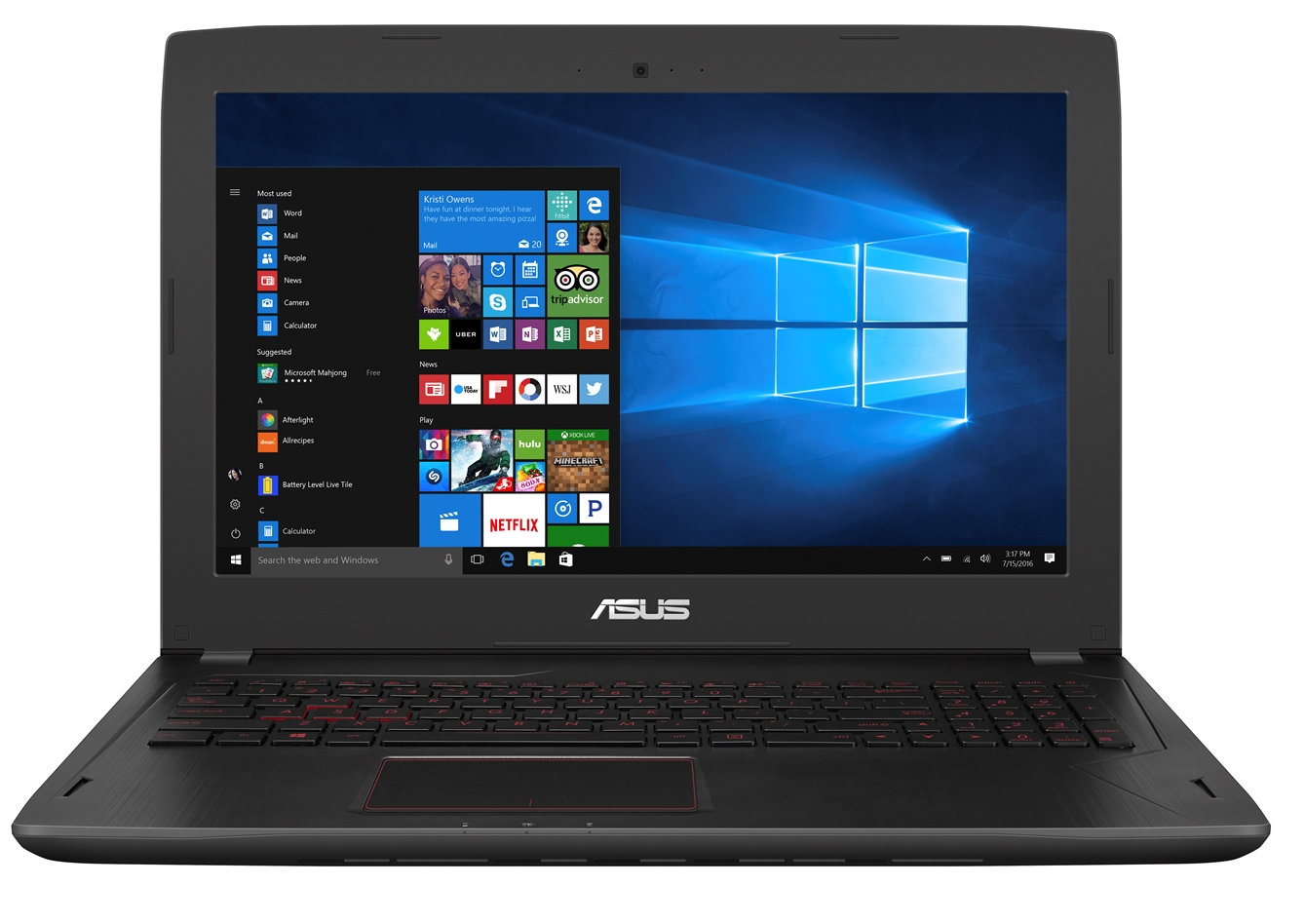 """ASUS FX502VD - 15,6""""/i7-7700HQ/256SSD+1TB/16G/GTX1050/W10 černý"""