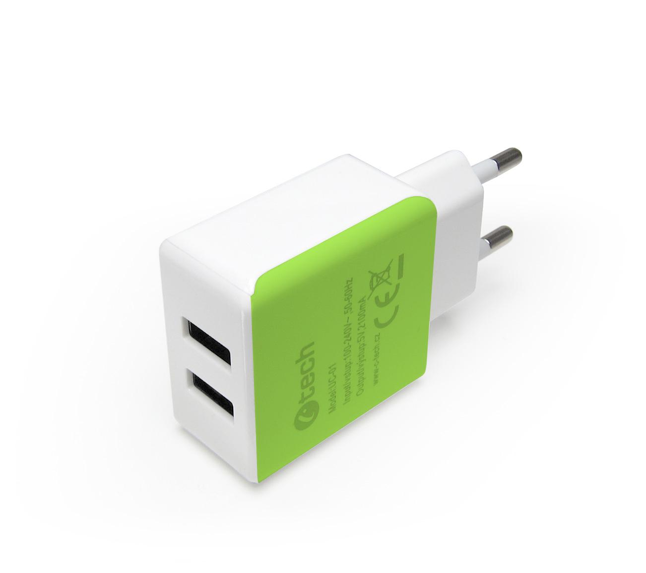 C-TECH Nabíječka USB UC-01, 2x USB, 2,1A, bílo-zelená
