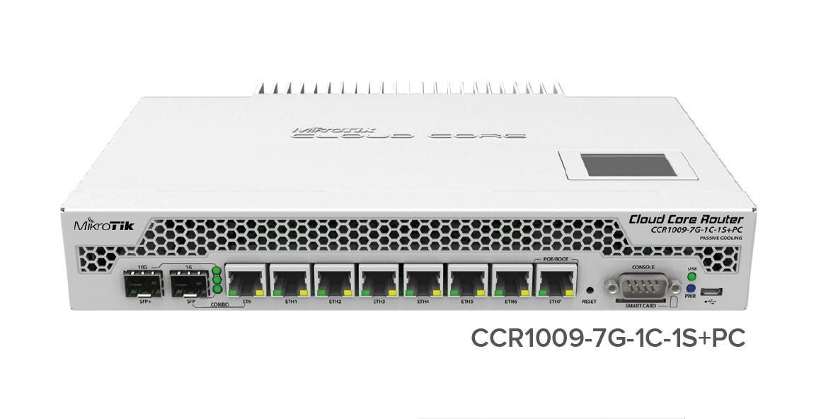 MikroTik CloudCoreRouter CCR1009-7G-1C-1S+PC, 1000MHz CPU, 2GB RAM, 7x LAN, 1x SFP, 1xSFP+, 1x microUSB, vč. L6 licence