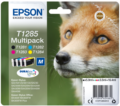 EPSON cartridge T1285 (black/cyan/magenta/yellow) multipack (liška)