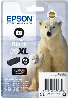 Epson Singlepack Photo Black 26XL Claria Prem Ink