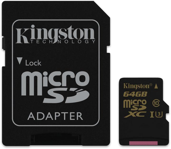 Kingston 64GB Micro SecureDigital (SDXC) Card Gold, UHS-I, 90r/45w + SD adapter