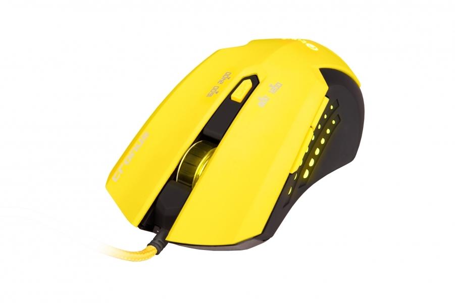 C-TECH herní myš Cronus (GM-02Y), herní, černo-žlutá, žluté podsvícení, 2400DPI, USB