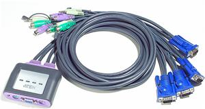 ATEN CS64A 4-Port PS/2 KVM Switch, Speaker Support, 1.8m cables