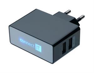 CONNECT IT nabíjecí adaptér POWER CHARGER se dvěma USB porty 2.1 A/1 A černý