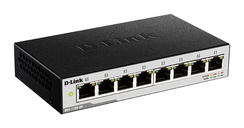D-Link DGS-1100-08/E 8-port 10/100/1000 EasySmart Switch- 8-Port 100BaseTX Auto-Negotiating 10/100/1000Mbps Switch- Fanless