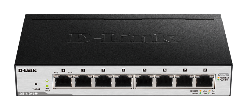 D-Link DGS-1100-08P 8-Port Gigabit PoE Smart Switch (8 x PoE ports, fanless)