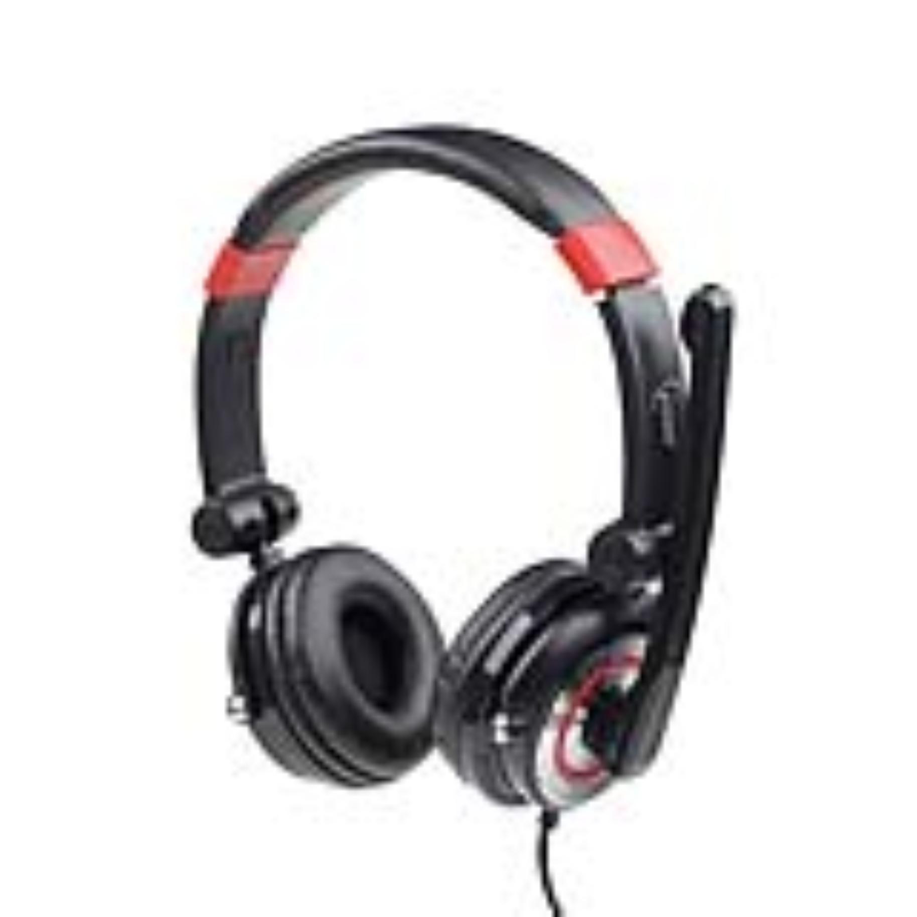Gembird stereo sluchátka 5.1 s mikrofonem a regulací hlasitosti, černo-červené