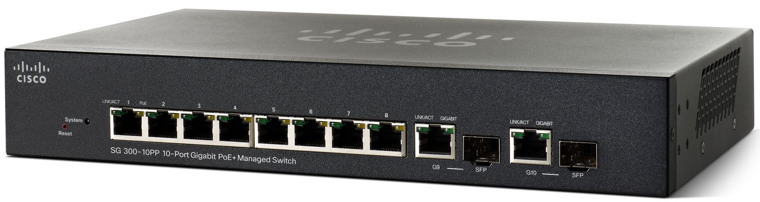 Cisco SG300-10PP 10-port Gigabit PoE+ Managed Switch, PoE 62W/8 ports