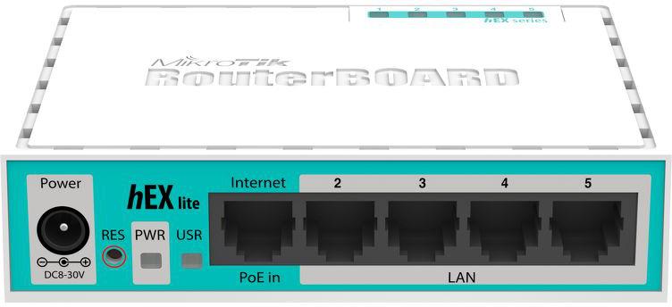 MikroTik RouterBOARD RB750r2, hEX lite, ROS L4, 5xLAN, montážní krabice, napájecí adaptér