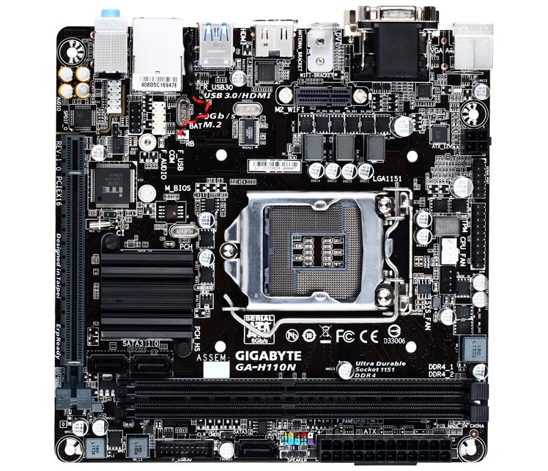 GIGABYTE MB Sc LGA1151 H110N, Intel H110, 2xDDR4, VGA, mini-ITX